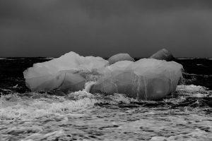 Melting iceberg due to anthropogenic climate change