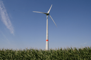 Wind turbine with blue sky in background and grass in foreground