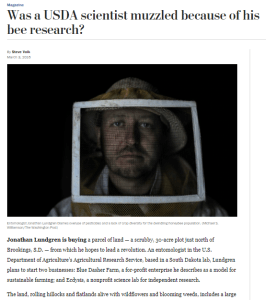 Was a USDA scientist muzzled because of his bee research? |Washington Post | March 3, 2016