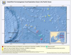 Map of the Western Pacific showing the locations of Manganese crust exploratory sites granted by the ISA.